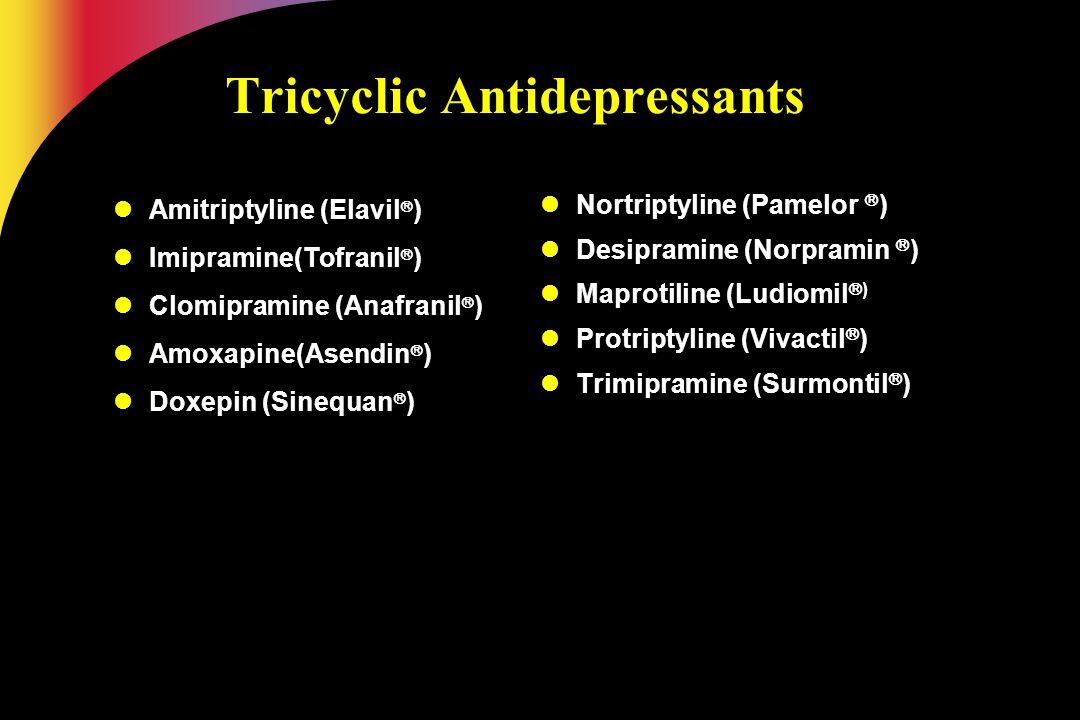 Tricyclic Antidepressants Amitriptyline (Elavil  ) Imipramine(Tofranil  ) Clomipramine (Anafranil  ) Amoxapine(Asendin  ) Doxepin (Sinequan  ) No