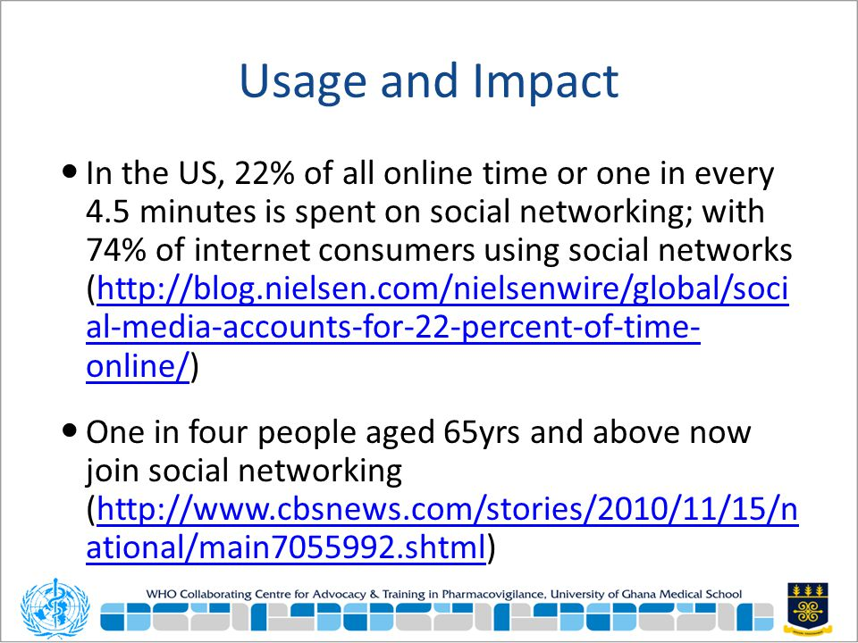 Usage and Impact In the US, 22% of all online time or one in every 4.5 minutes is spent on social networking; with 74% of internet consumers using soc