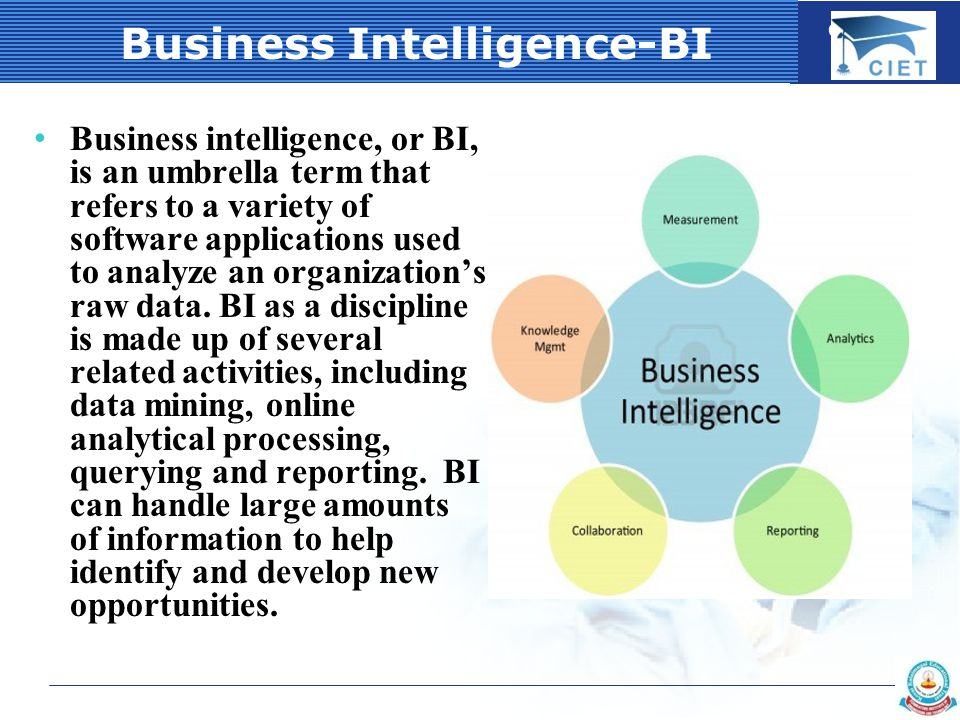 COMPANY LOGO Business Intelligence-BI Business intelligence, or BI, is an umbrella term that refers to a variety of software applications used to analyze an organization's raw data.