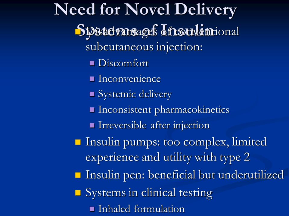 Need for Novel Delivery Systems of Insulin Disadvantages of conventional subcutaneous injection: Disadvantages of conventional subcutaneous injection: