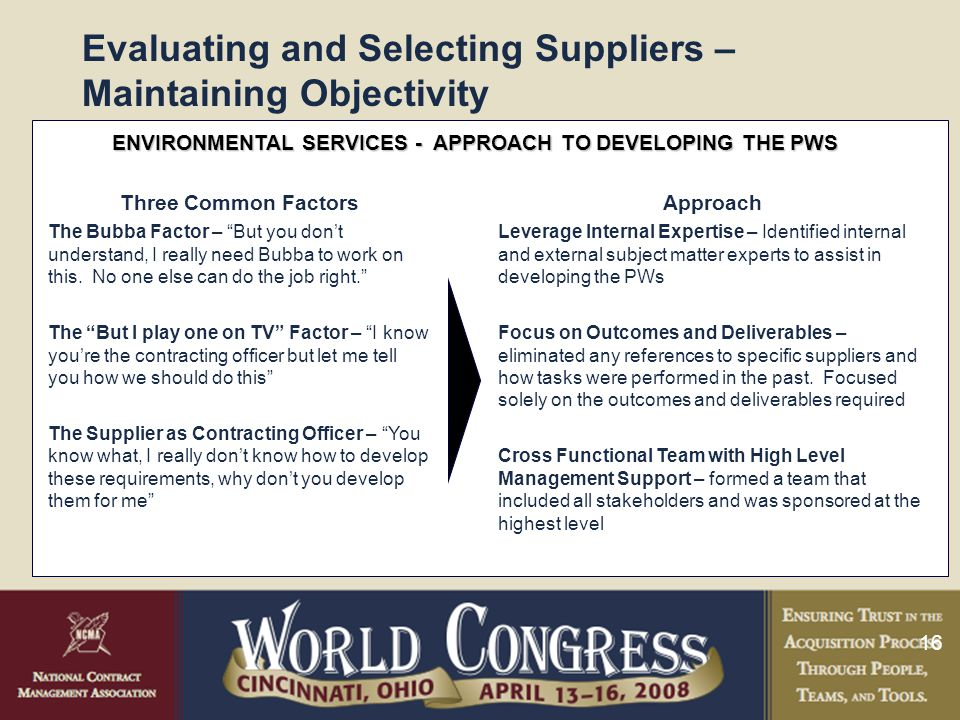 16 Evaluating and Selecting Suppliers – Maintaining Objectivity ENVIRONMENTAL SERVICES - APPROACH TO DEVELOPING THE PWS Three Common Factors The Bubba Factor – But you don't understand, I really need Bubba to work on this.
