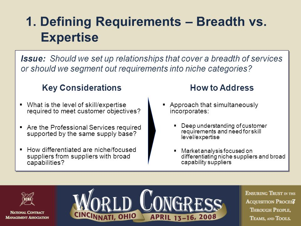 7 1. Defining Requirements – Breadth vs.