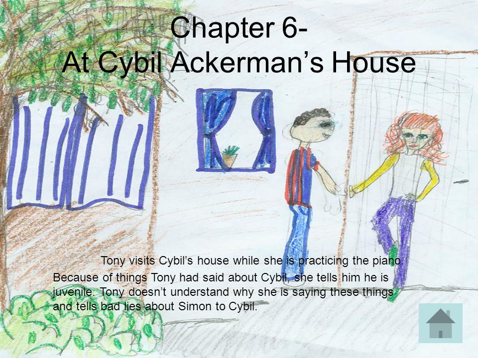 Chapter 6- At Cybil Ackerman's House Tony visits Cybil's house while she is practicing the piano. Because of things Tony had said about Cybil, she tel