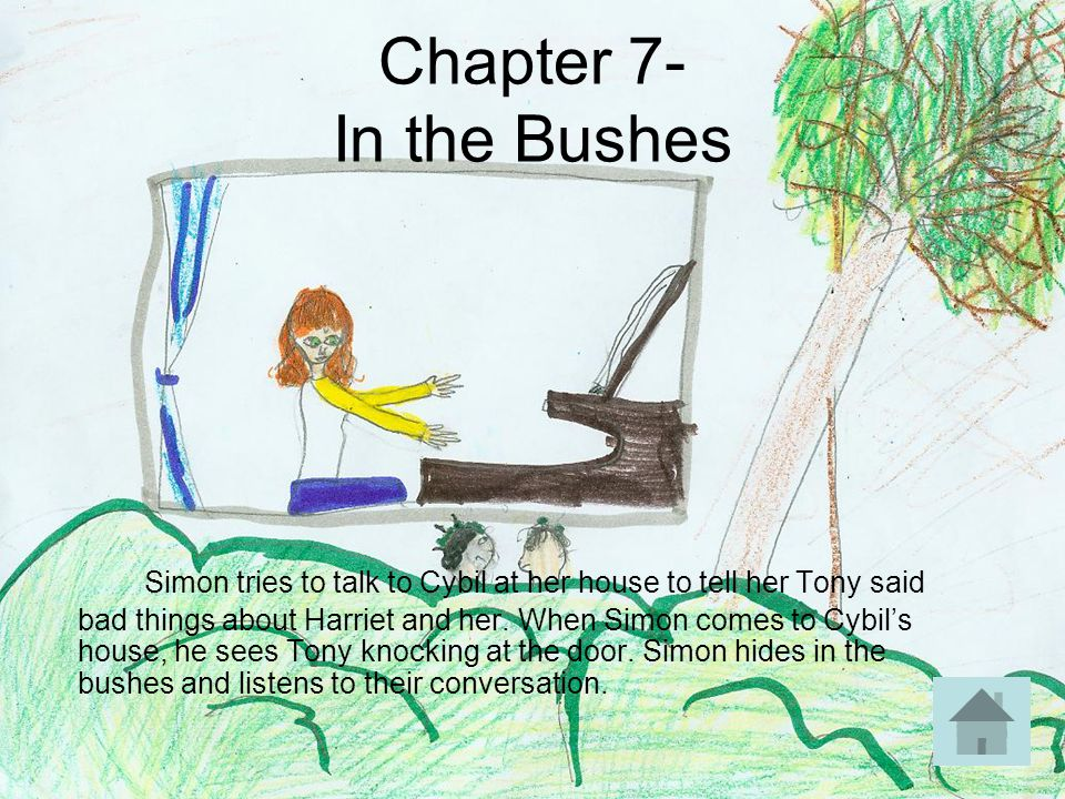 Chapter 7- In the Bushes Simon tries to talk to Cybil at her house to tell her Tony said bad things about Harriet and her. When Simon comes to Cybil's