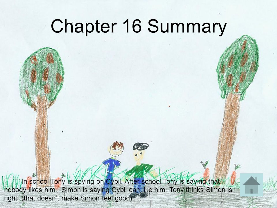 Chapter 16 Summary In school Tony is spying on Cybil. After school Tony is saying that nobody likes him. Simon is saying Cybil can like him. Tony thin