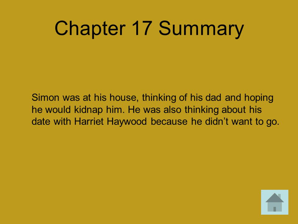 Chapter 17 Summary Simon was at his house, thinking of his dad and hoping he would kidnap him. He was also thinking about his date with Harriet Haywoo