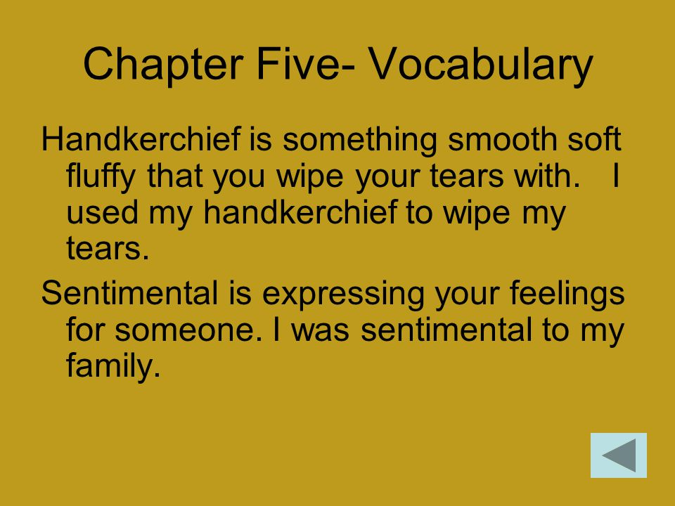 Chapter Five- Vocabulary Handkerchief is something smooth soft fluffy that you wipe your tears with. I used my handkerchief to wipe my tears. Sentimen