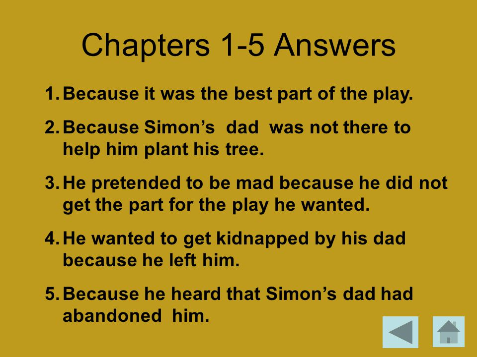 Chapters 1-5 Answers 1.Because it was the best part of the play. 2.Because Simon's dad was not there to help him plant his tree. 3.He pretended to be