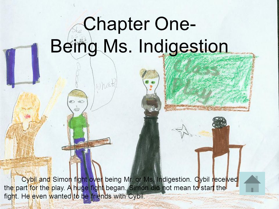 Chapter One- Being Ms. Indigestion Cybil and Simon fight over being Mr. or Ms. Indigestion. Cybil received the part for the play. A huge fight began.
