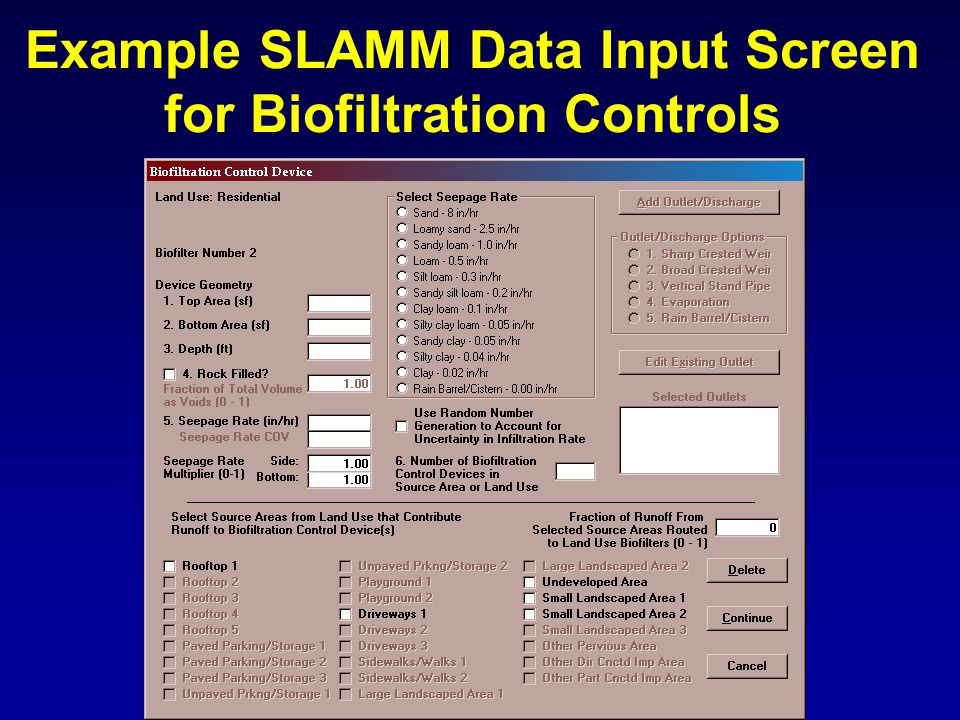 Example SLAMM Data Input Screen for Biofiltration Controls