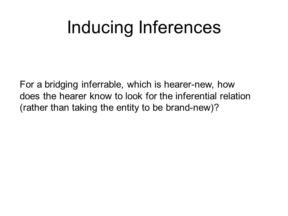 For a bridging inferrable, which is hearer-new, how does the hearer know to look for the inferential relation (rather than taking the entity to be brand-new).