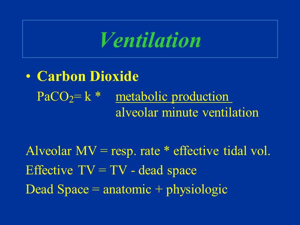 Ventilation Carbon Dioxide PaCO 2 = k * metabolic production alveolar minute ventilation Alveolar MV = resp.