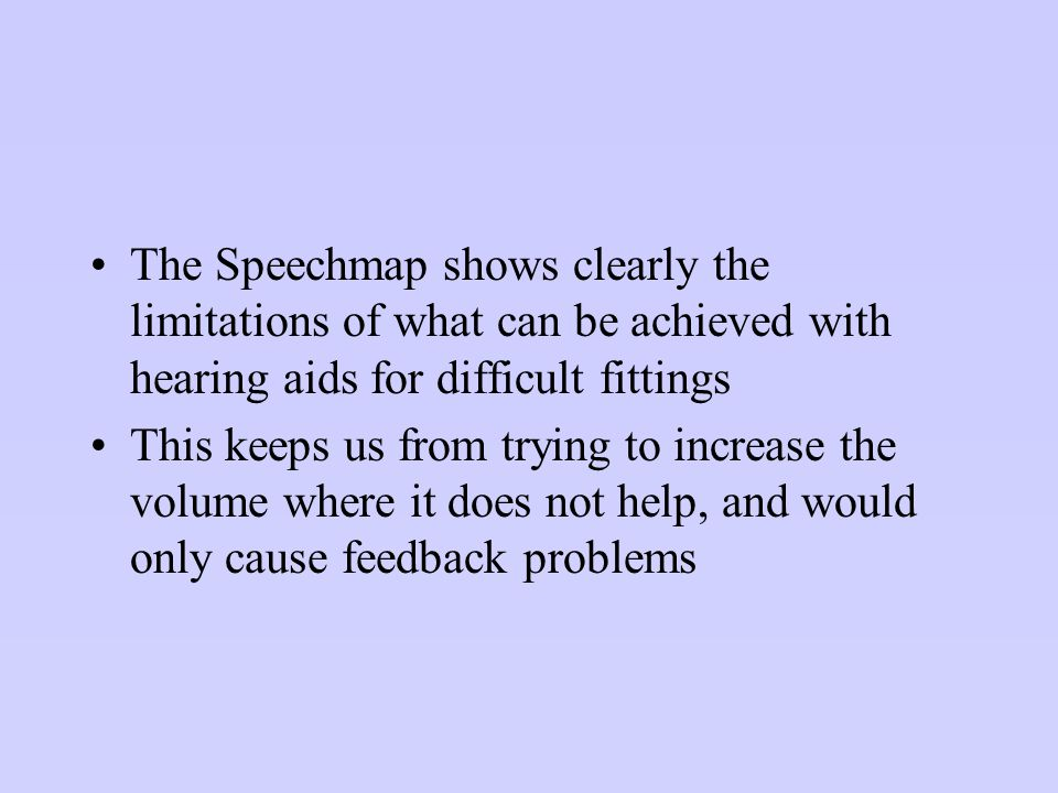 The Speechmap shows clearly the limitations of what can be achieved with hearing aids for difficult fittings This keeps us from trying to increase the