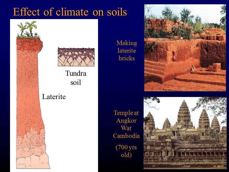 Effect of climate on soils Making laterite bricks Temple at Angkor Wat Cambodia (700 yrs old) Laterite Tundra soil