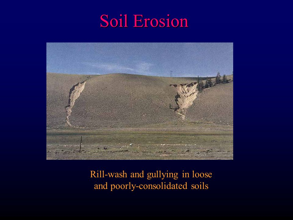 Rill-wash and gullying in loose and poorly-consolidated soils Soil Erosion