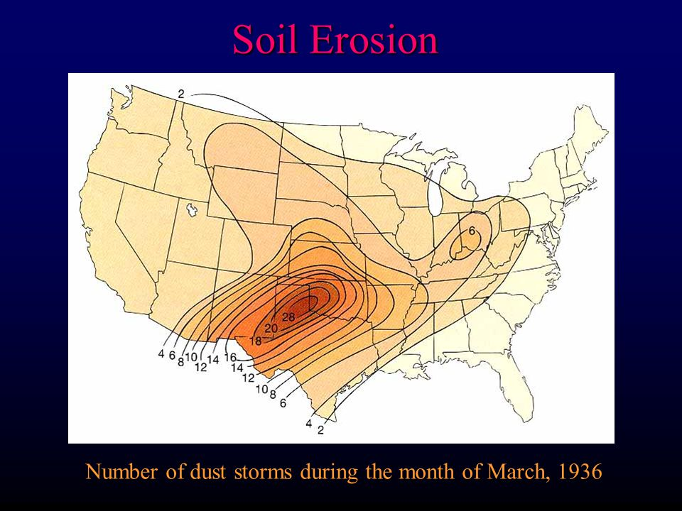 Number of dust storms during the month of March, 1936 Soil Erosion
