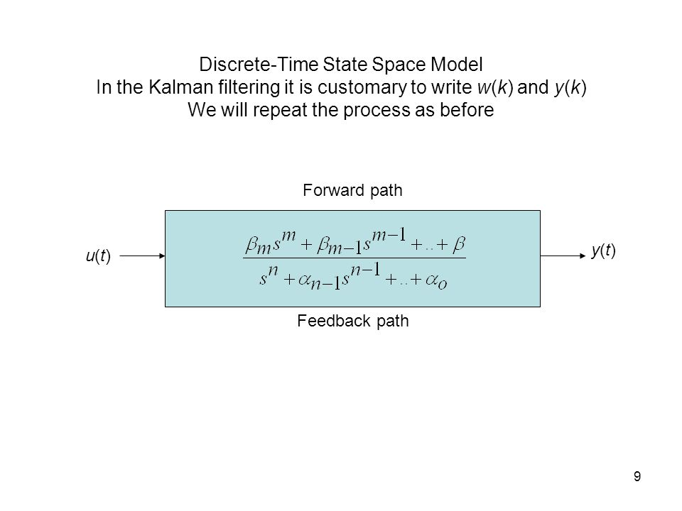 9 Discrete-Time State Space Model In the Kalman filtering it is customary to write w(k) and y(k) We will repeat the process as before u(t)u(t) y(t)y(t) Forward path Feedback path