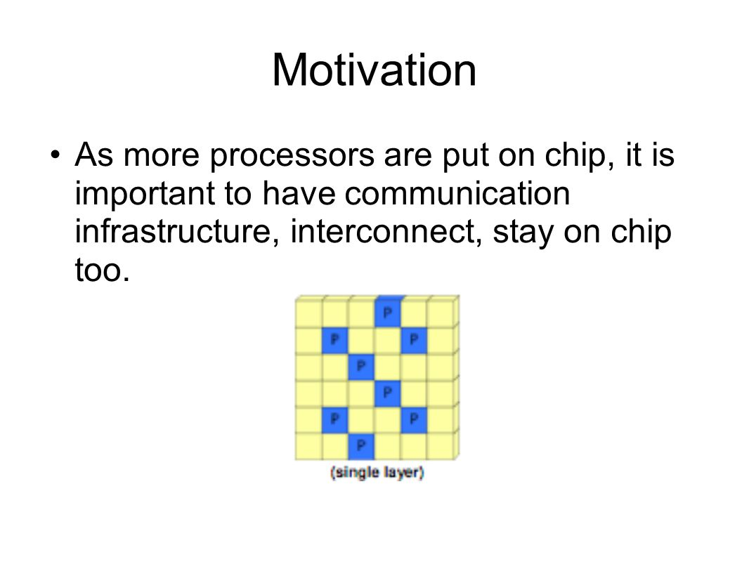 Motivation As more processors are put on chip, it is important to have communication infrastructure, interconnect, stay on chip too.