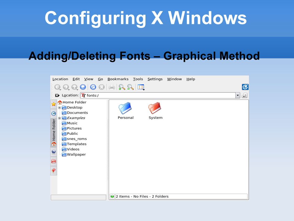 Configuring X Windows Fontconfig Utilty Fontconfig library uses a font-naming scheme which is more user friendly than with the XLFD font naming system.