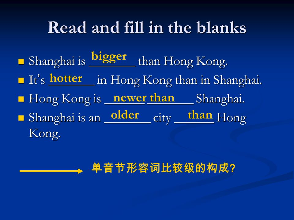 Read and fill in the blanks Shanghai is _______ than Hong Kong.
