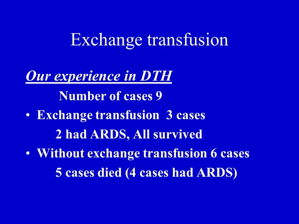Exchange transfusion Our experience in DTH Number of cases 9 Exchange transfusion 3 cases 2 had ARDS, All survived Without exchange transfusion 6 cases 5 cases died (4 cases had ARDS)