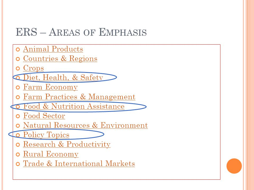 ERS – A REAS OF E MPHASIS Animal Products Countries & Regions Crops Diet, Health, & Safety Farm Economy Farm Practices & Management Food & Nutrition A