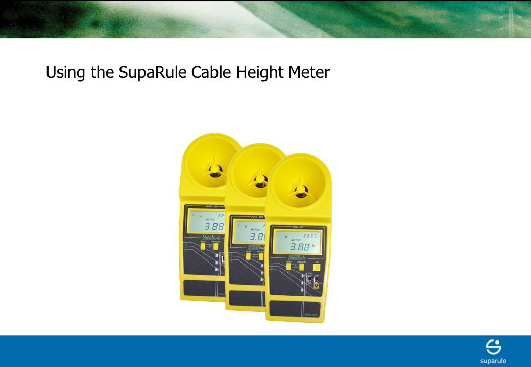 Ultrasonic handheld meter for measurement of Cable height Cable sag Overhead clearance to ground.