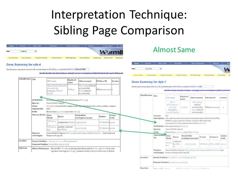 Interpretation Technique: Sibling Page Comparison Almost Same