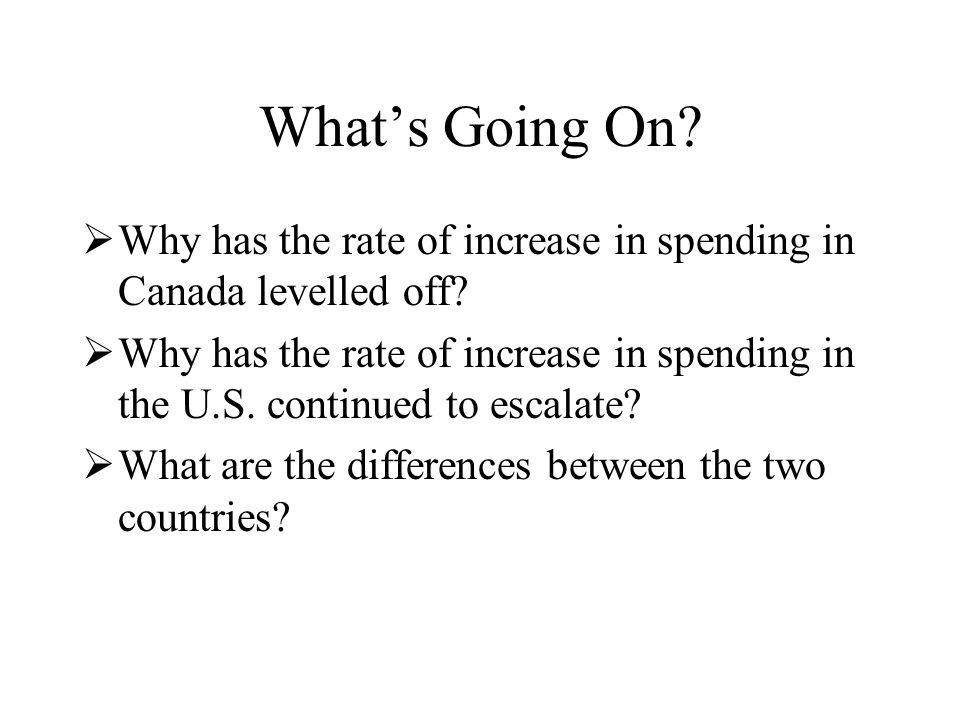 What's Going On.  Why has the rate of increase in spending in Canada levelled off.