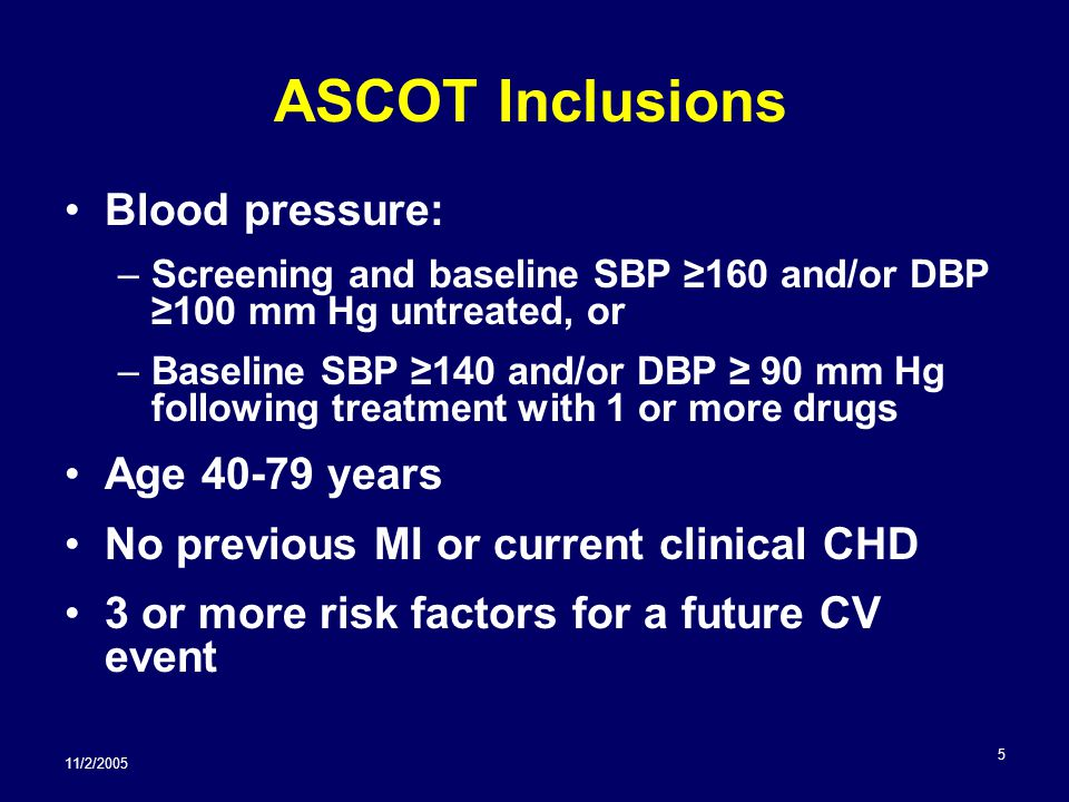 11/2/2005 5 ASCOT Inclusions Blood pressure: –Screening and baseline SBP ≥160 and/or DBP ≥100 mm Hg untreated, or –Baseline SBP ≥140 and/or DBP ≥ 90 mm Hg following treatment with 1 or more drugs Age 40-79 years No previous MI or current clinical CHD 3 or more risk factors for a future CV event