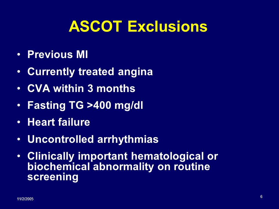 11/2/2005 7 ASCOT Outcomes No significant difference in primary CHD outcome.