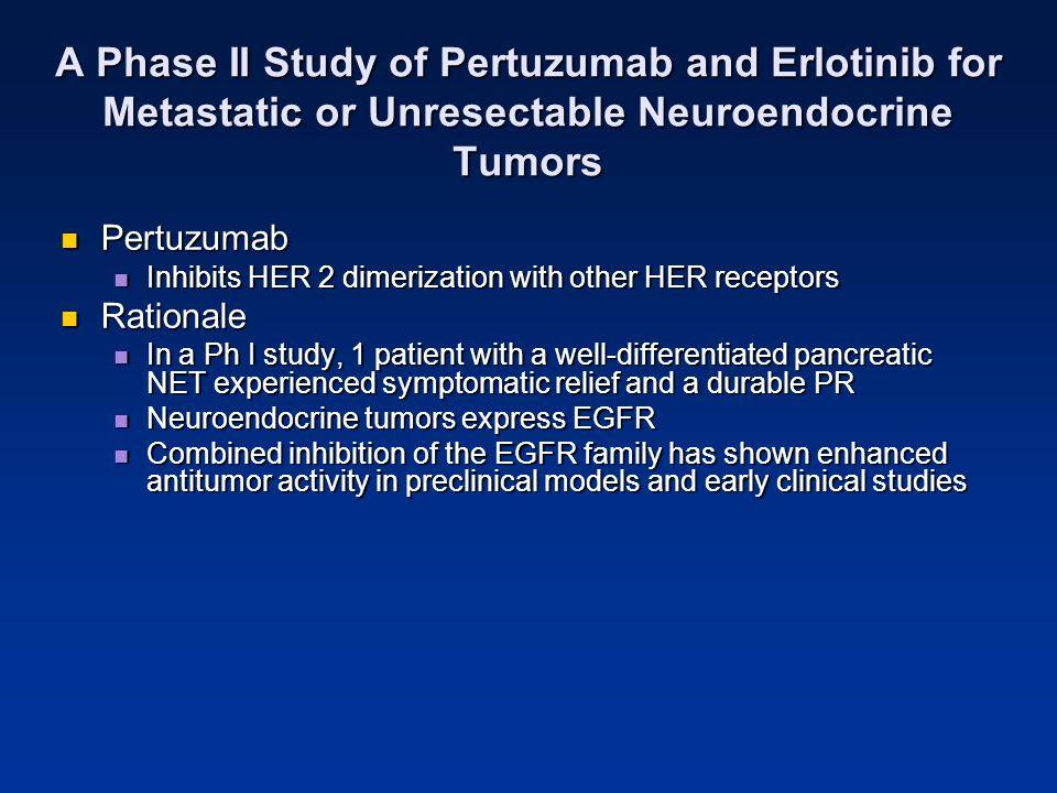 A Phase II Study of Pertuzumab and Erlotinib for Metastatic or Unresectable Neuroendocrine Tumors Pertuzumab Pertuzumab Inhibits HER 2 dimerization wi