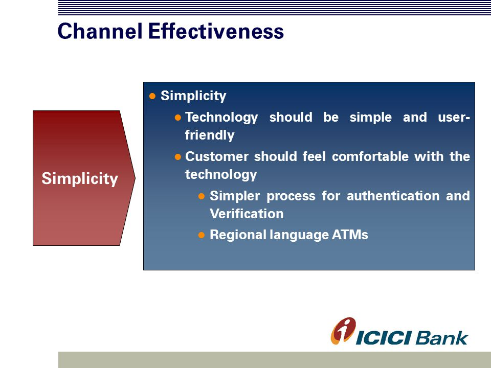 Channel Effectiveness Simplicity Technology should be simple and user- friendly Customer should feel comfortable with the technology Simpler process for authentication and Verification Regional language ATMs Simplicity