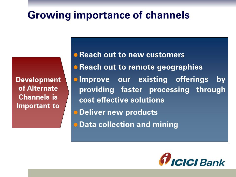 Channel Effectiveness Channels must continuously strive to add greater value to customers in terms of services Mobile top-ups at ATMs Benchmark innovative products / services across the world to add newer perspectives to electronic transactions Card to Card funds transfer Value- added services