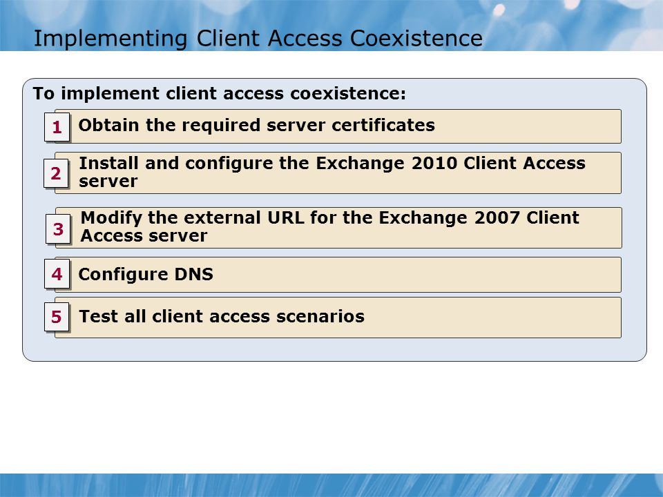 Implementing Client Access Coexistence To implement client access coexistence: Obtain the required server certificates Install and configure the Excha