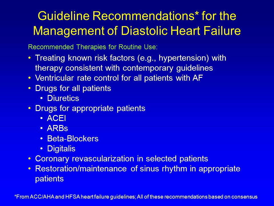 Current Evidence-Based Treatment of Chronic Diastolic Heart Failure