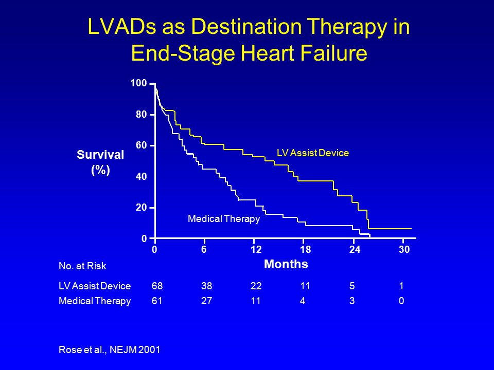 LVADs as Destination Therapy in End-Stage Heart Failure 100 80 60 40 20 0 0612182430 6838221151 612711430 No.