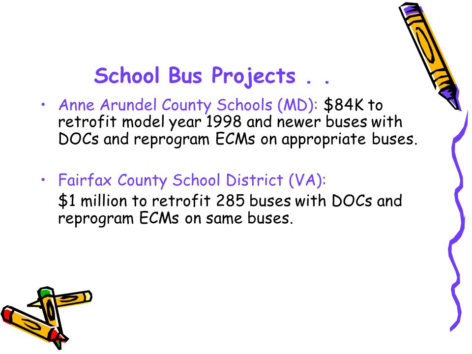 School Bus Projects..Roanoke County Public Schools (VA): $275K to retrofit 100 buses with DOCs.
