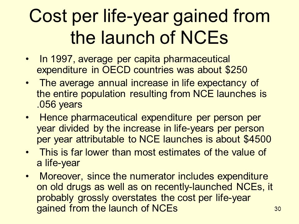 30 Cost per life-year gained from the launch of NCEs In 1997, average per capita pharmaceutical expenditure in OECD countries was about $250 The avera