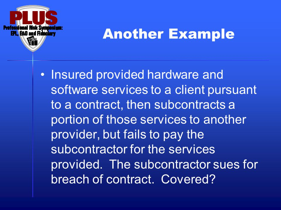 Another Example Insured provided hardware and software services to a client pursuant to a contract, then subcontracts a portion of those services to a