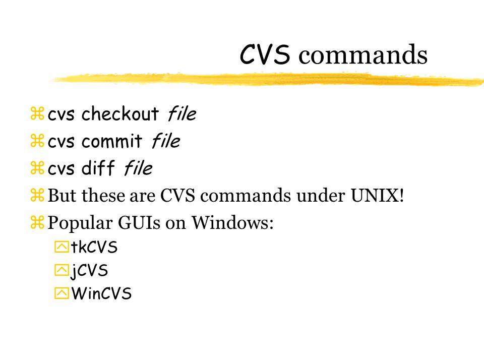 CVS commands zcvs checkout file zcvs commit file  cvs diff file zBut these are CVS commands under UNIX.
