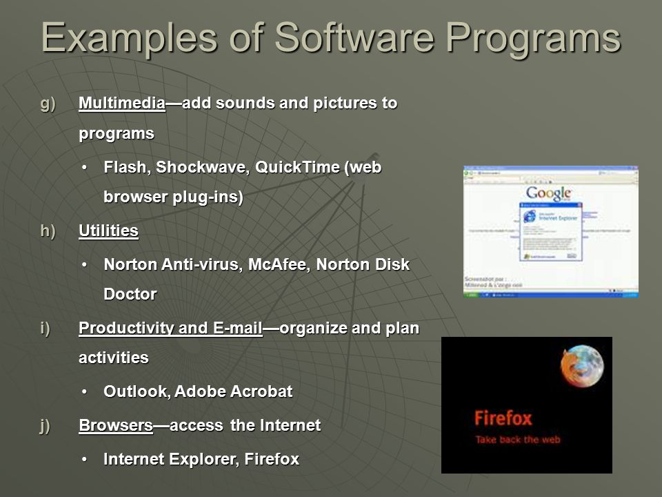 Examples of Software Programs g)Multimedia—add sounds and pictures to programs Flash, Shockwave, QuickTime (web browser plug-ins)Flash, Shockwave, Qui