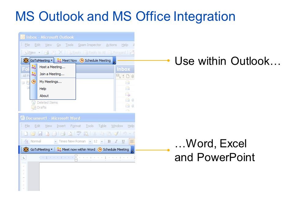 MS Outlook and MS Office Integration Use within Outlook… …Word, Excel and PowerPoint