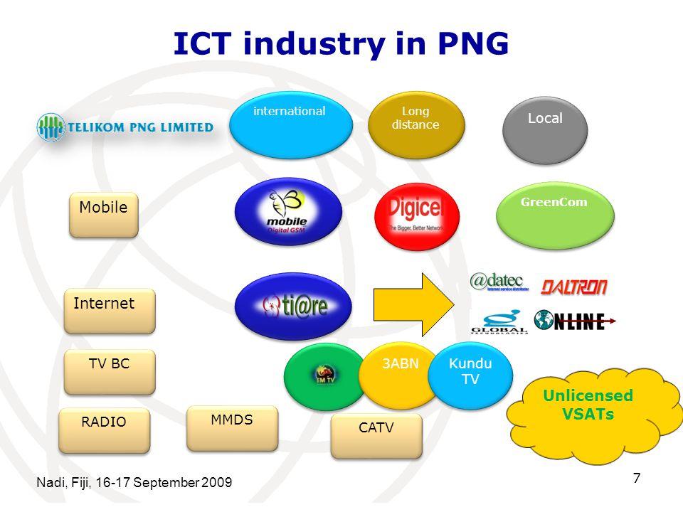 ICT industry in PNG Nadi, Fiji, 16-17 September 2009 7 Long distance Local Mobile international GreenCom Internet TV BC 3ABN Kundu TV RADIO MMDS CATV Unlicensed VSATs