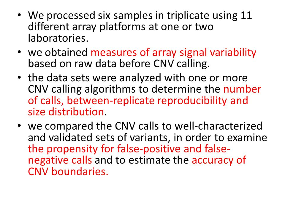 We processed six samples in triplicate using 11 different array platforms at one or two laboratories. we obtained measures of array signal variability
