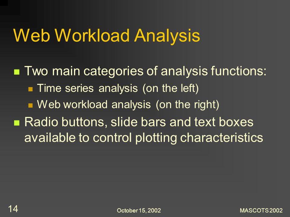 October 15, 2002MASCOTS 2002 14 Web Workload Analysis Two main categories of analysis functions: Time series analysis (on the left) Web workload analysis (on the right) Radio buttons, slide bars and text boxes available to control plotting characteristics