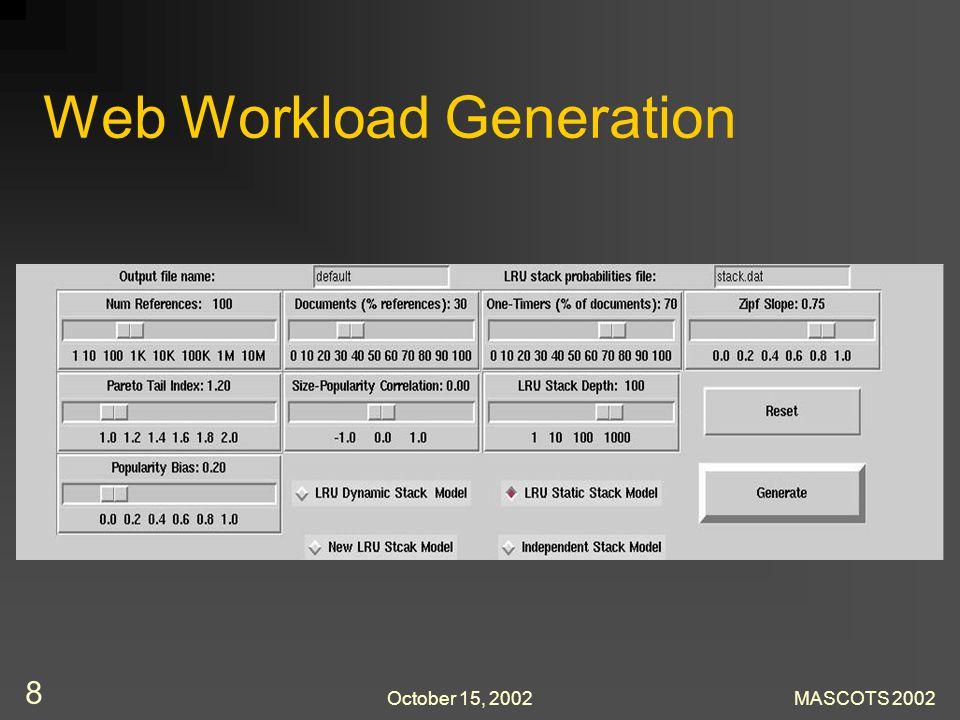 October 15, 2002MASCOTS 2002 8 Web Workload Generation