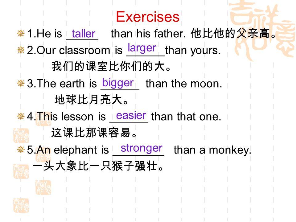 Summary (总结) 构 成 方 法原 级比 较 级 单音节和少数双音节 单 词 tall,long,short, old,small, warm taller,longer,shorter, older,smaller,warmer nice,fine,largenicer, finer, larger big, hot, red, thin big ger, hot ter, red der, thin ner busy, early, easy bus ier, earl ier, eas ier 一般在词尾加 -er 以字母 e 结尾的 形容词, 直接加 - r 以重读闭音节结尾的形容 词,如末尾只有一个辅音 字母,应先 双写 该字母, 再加 - er 以 辅音字母 + - y 结尾的 形容词,先把 y 变成 i , 再加 - er