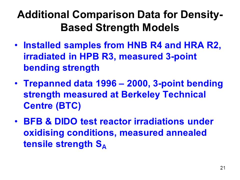 21 Additional Comparison Data for Density- Based Strength Models Installed samples from HNB R4 and HRA R2, irradiated in HPB R3, measured 3-point bending strength Trepanned data 1996 – 2000, 3-point bending strength measured at Berkeley Technical Centre (BTC) BFB & DIDO test reactor irradiations under oxidising conditions, measured annealed tensile strength S A