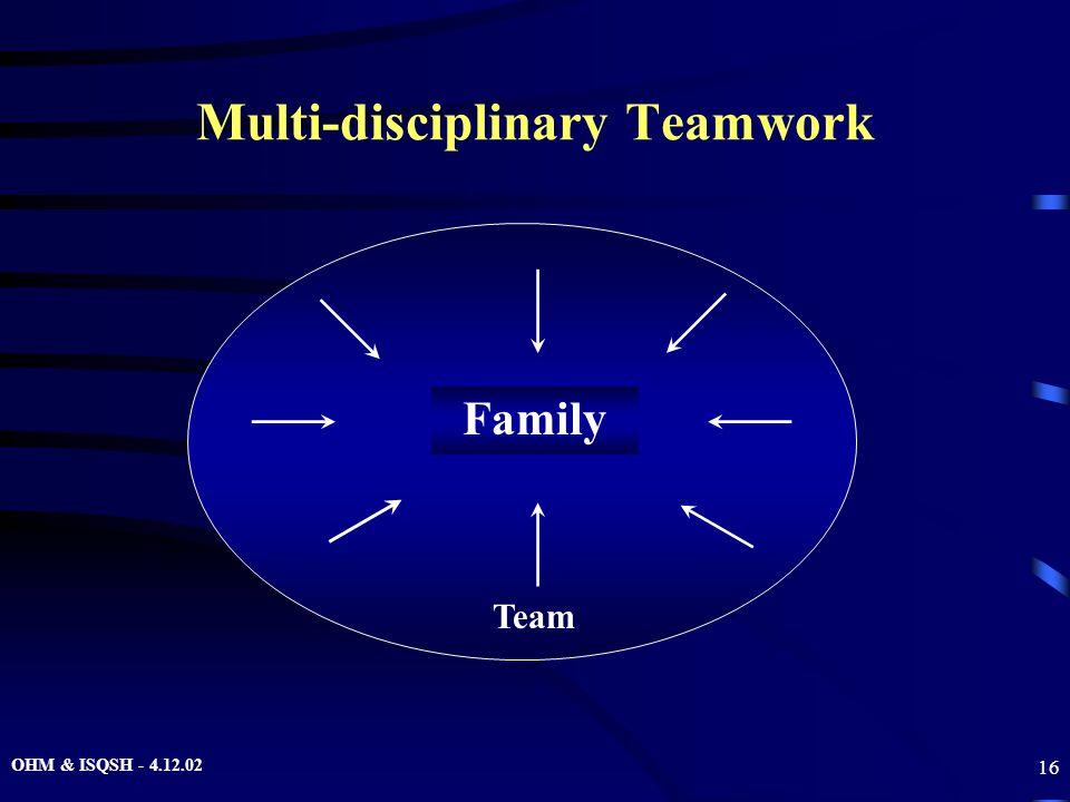 OHM & ISQSH - 4.12.02 16 Multi-disciplinary Teamwork Family Team